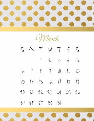 March printable calendar with gold polka dots and a gold stripe on the top and bottom of the tempalte
