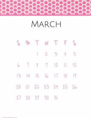 Calendar template for march