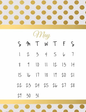 May printable calendar in white and gold