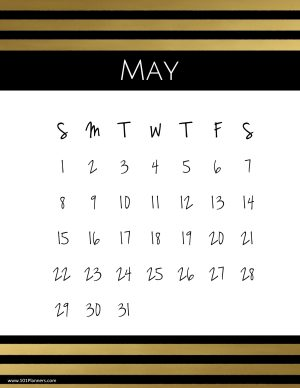 Elegant calendar for the month of May