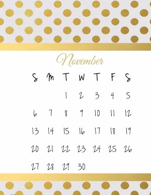 Shiny gold monthly calendar
