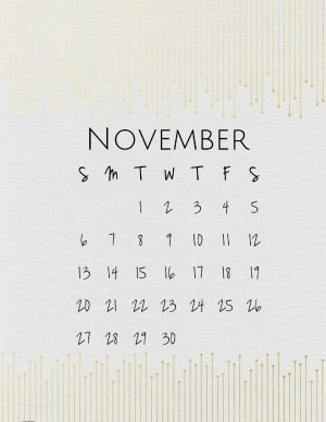 Elegant calendar in Gold and Off-white