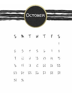 Halloween calendar printable