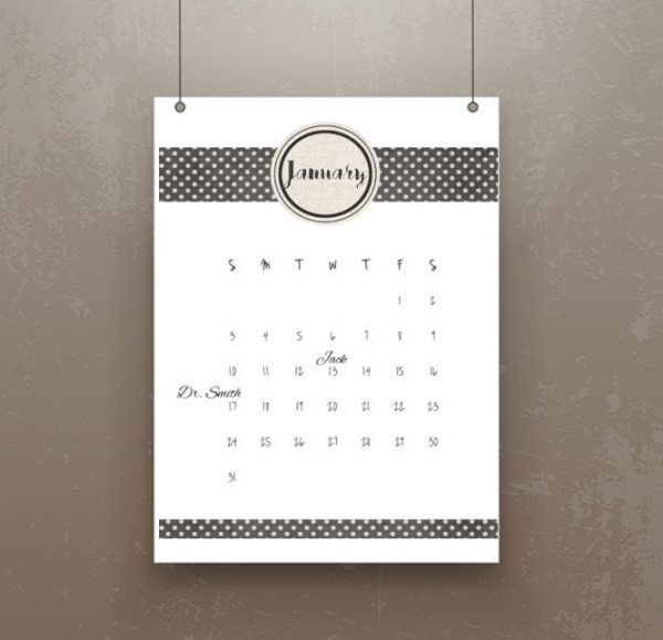 printable calendar that ca be used to create a DIY gift
