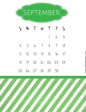 Calendar template with a green pattern