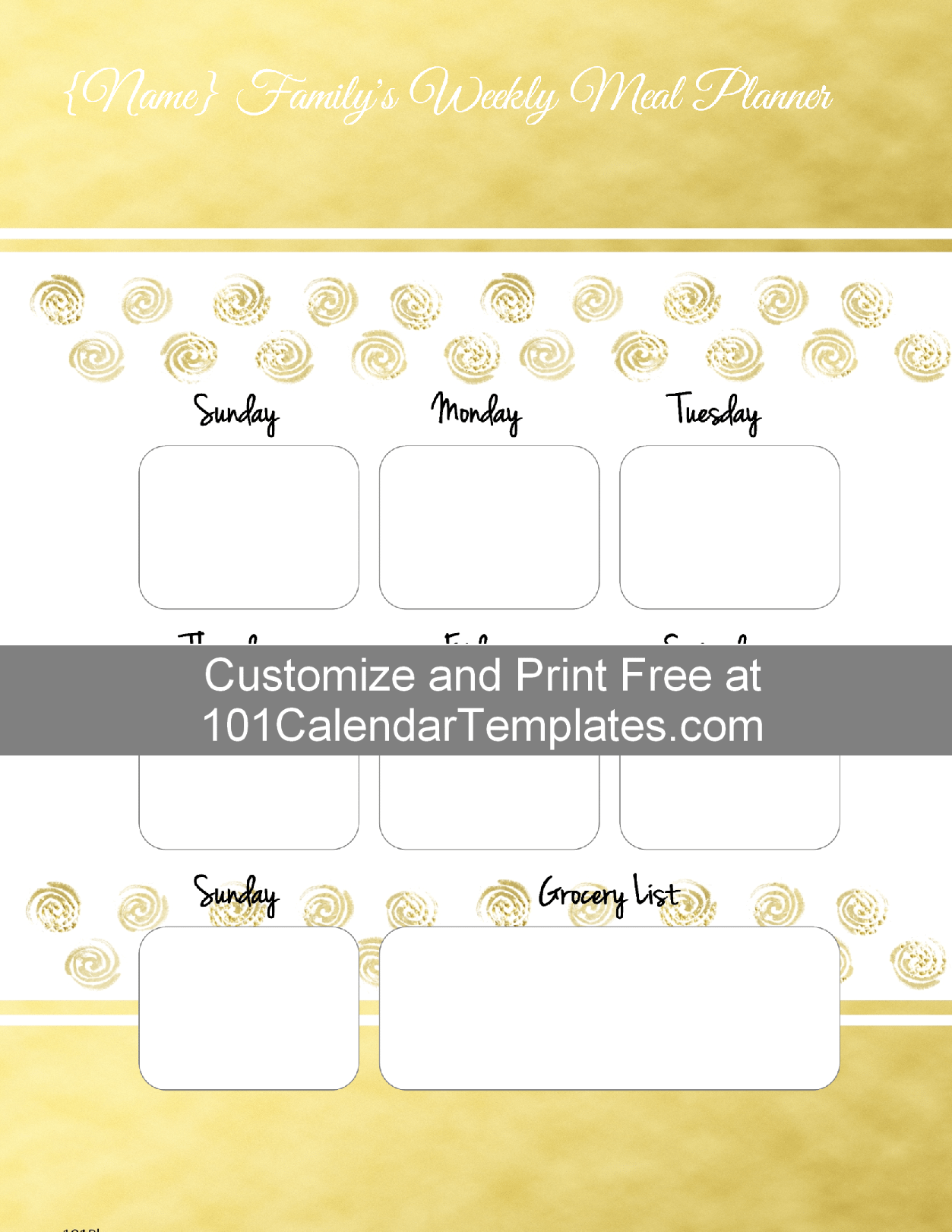 customizable grocery list template