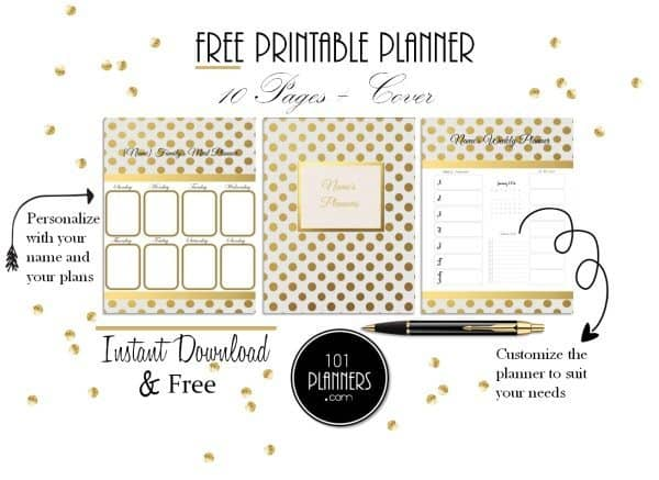 free gold polka dot planner customize online then print at home