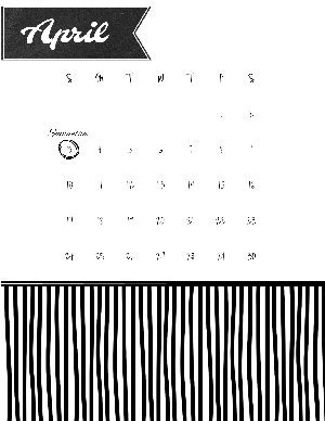 blank calendar template with a black pattern