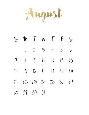 """Black calendar with a gold title that reads """"august"""""""