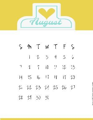 Clipboard style calendar template with a yellow background and a white clipboard