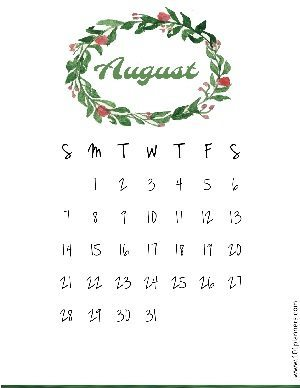 Free printable calendar with a watercolor wreath