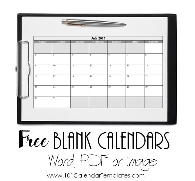 Free Printable Blank Calendar.Free Blank Calendar Templates Word Excel Pdf For Any Month