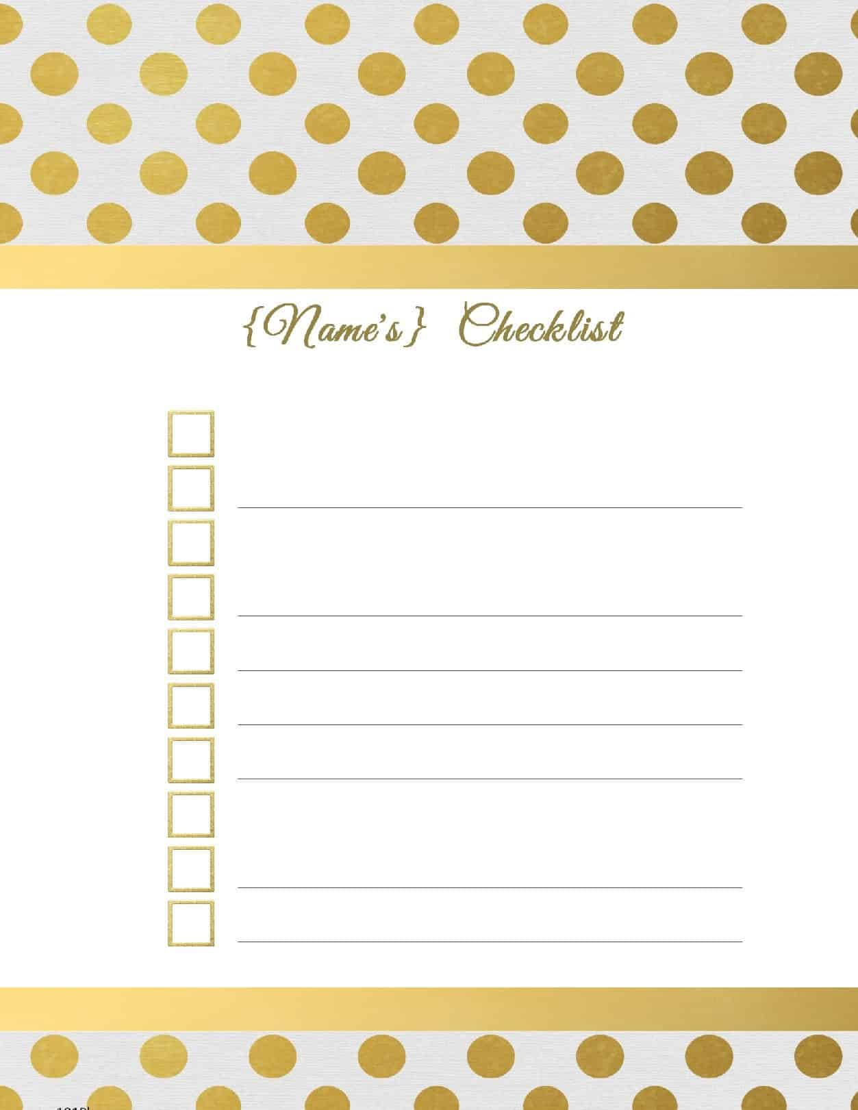 free printable checklist template