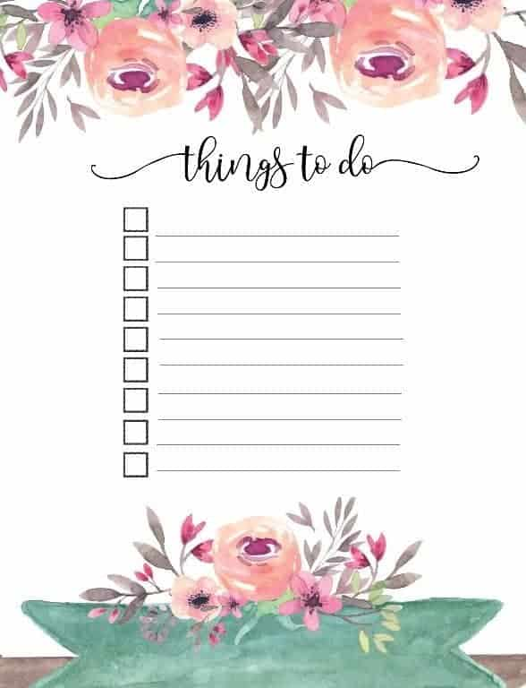 things to do planner template