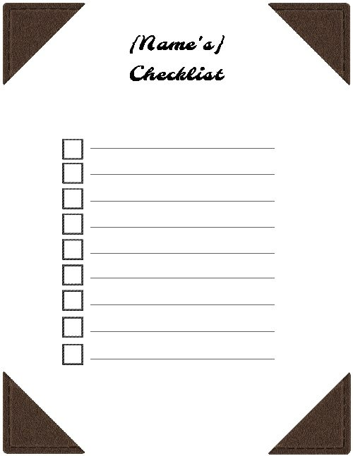 Use can use this check list as is or you can change the background or the way the list is displaced.