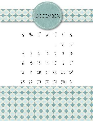 Calendar template with a teal pattern and the month of the year at the top of the template in a teal colored circle