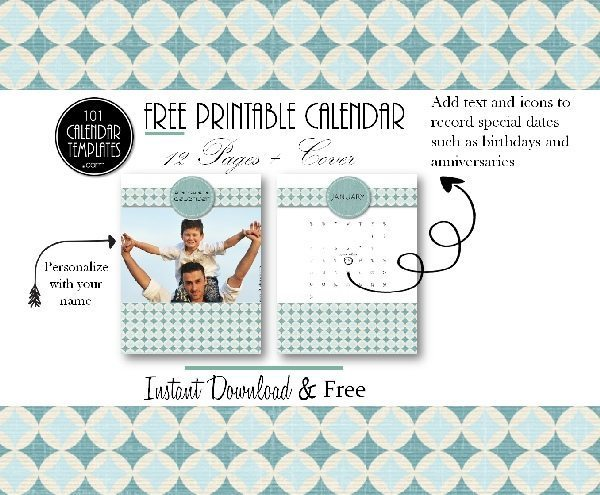 free calendar templates with a teal pattern