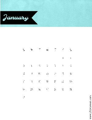 Teal stripe on top of calendar with black tag for the month of the year