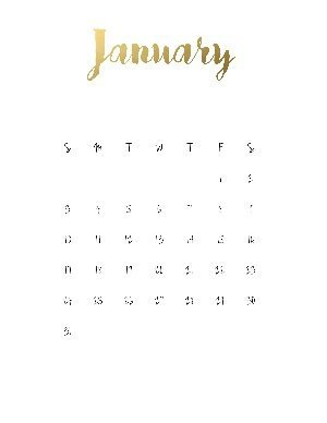 "Black calendar with a gold title that reads ""January"""