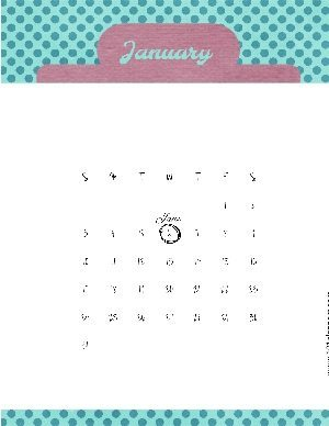Calendar template with teal polka dots and a pink clipboard style header