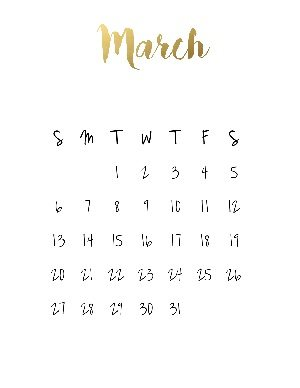 """Black calendar with a gold title that reads """"march"""""""