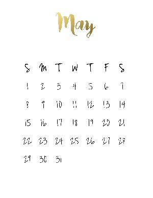 "Black calendar with a gold title that reads ""may"""