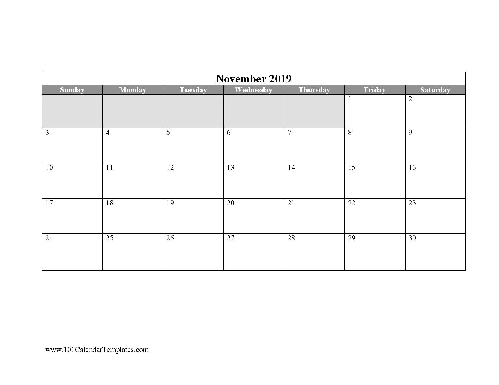 free blank calendar templates