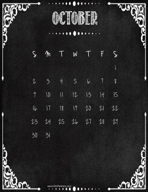 October calendar with holidays