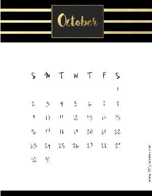 Black and gold calendar template