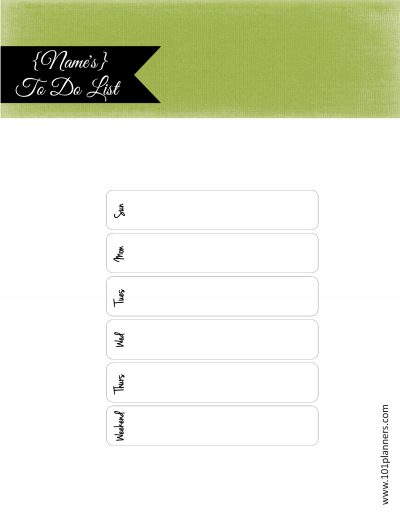 Green and black to do list printable