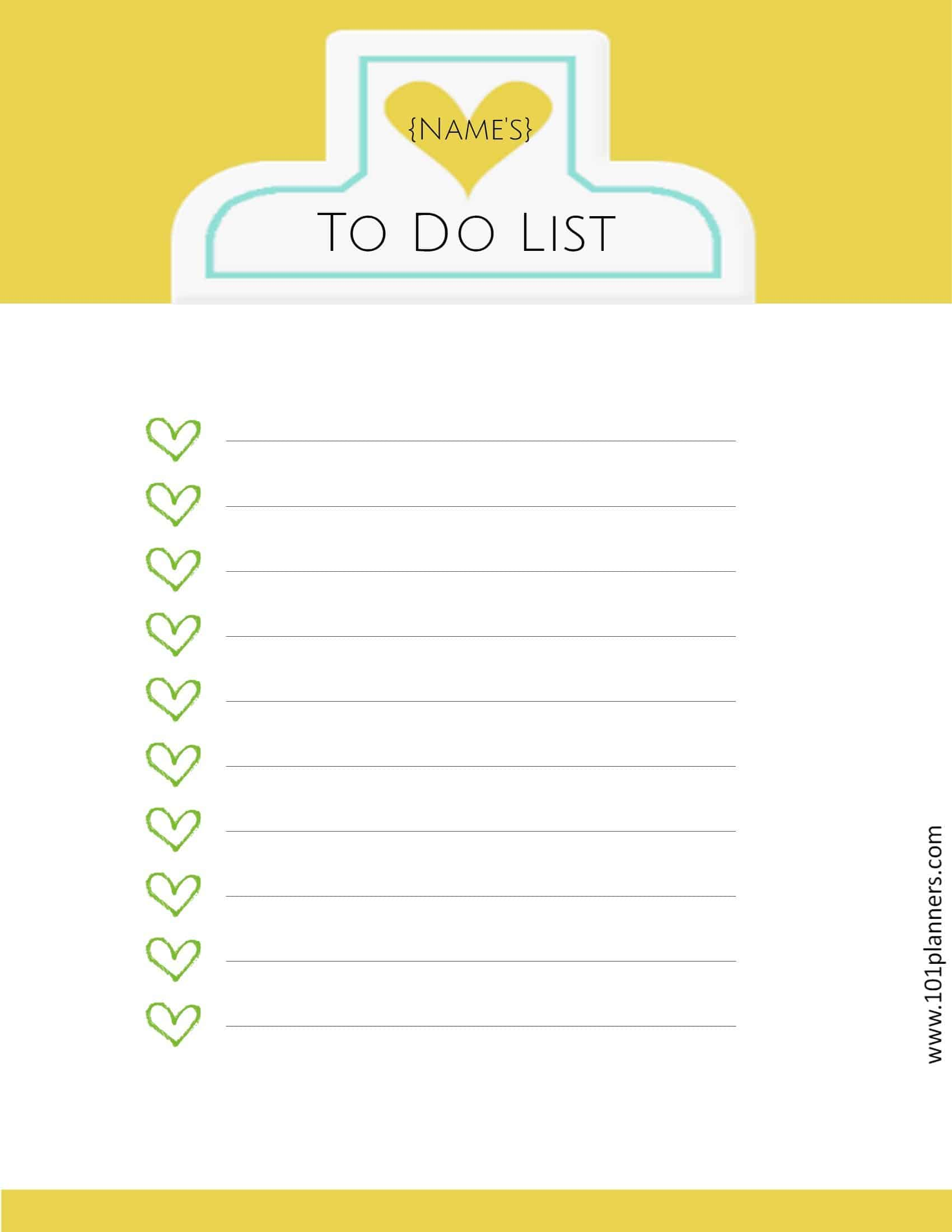 To Do Checklist With Green Hearts And A Yellow Background