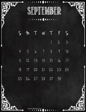 September Calendar with holidays