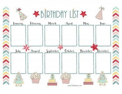 Pretty birthday calendar template