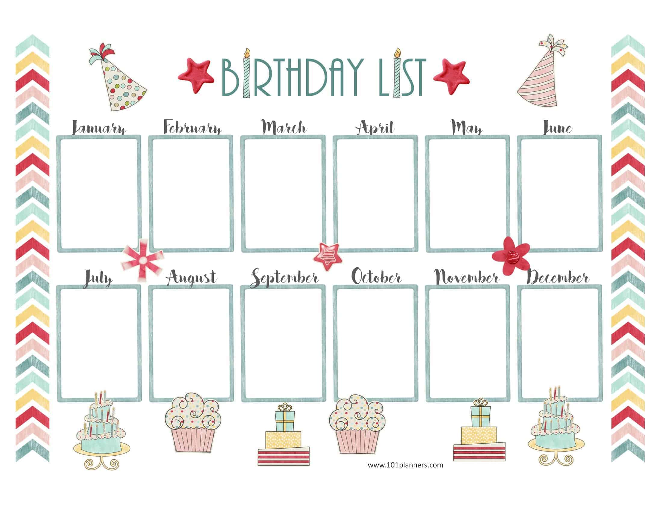 graphic regarding Free Printable Perpetual Birthday Calendar Template called No cost Birthday Calendar Printable Customizable Countless