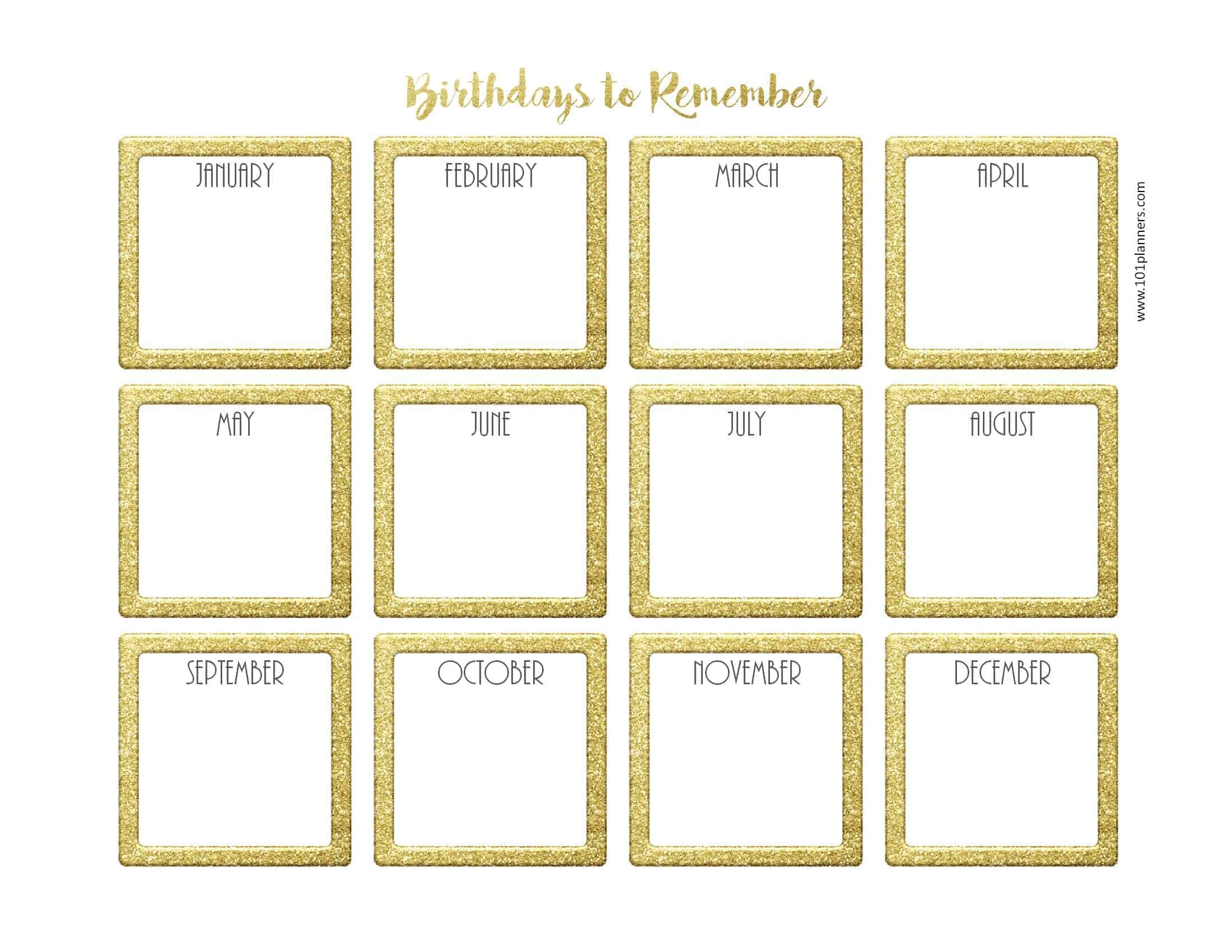 graphic about Free Printable Perpetual Birthday Calendar Template identified as Cost-free Birthday Calendar Printable Customizable Numerous