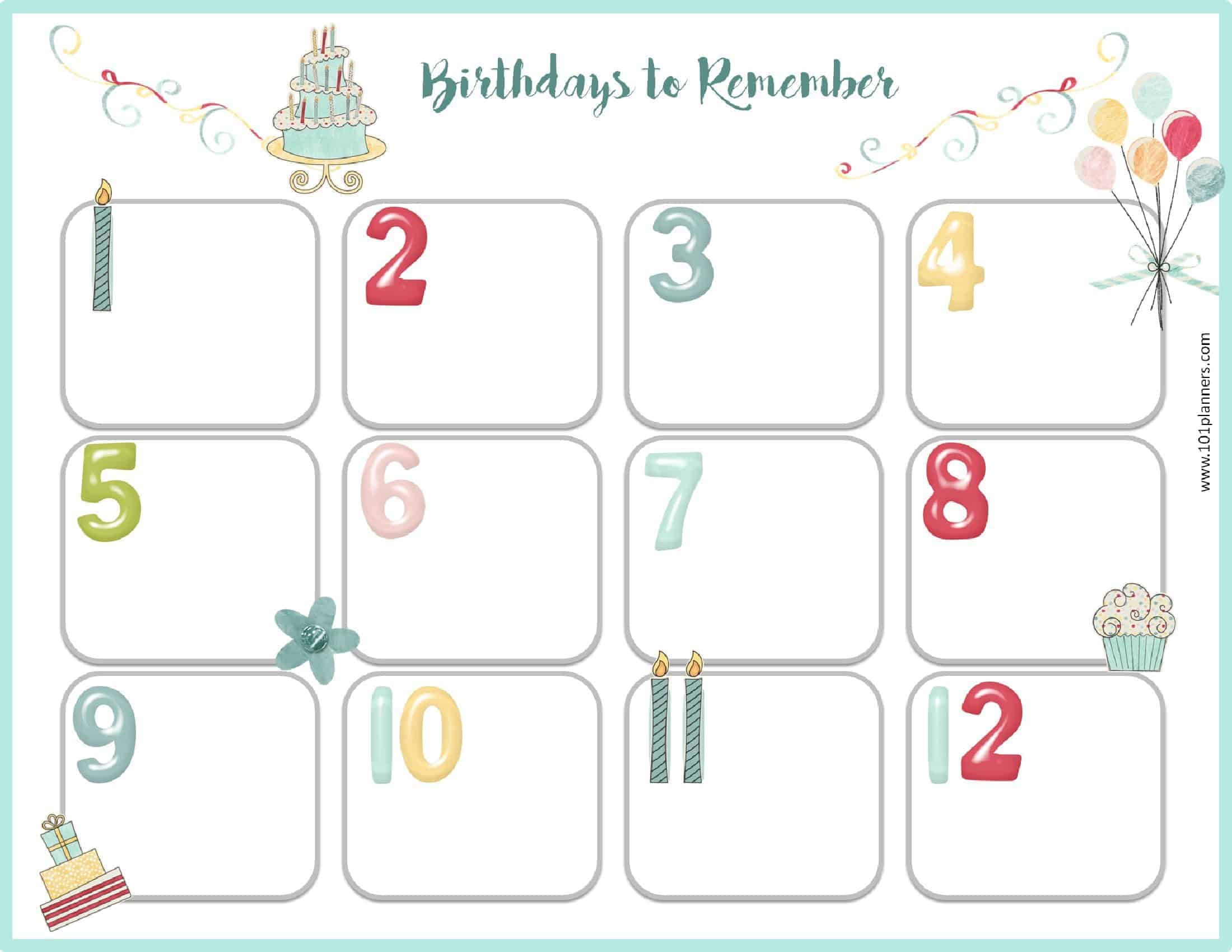 image regarding Birthday List Printable identified as Absolutely free Birthday Calendar Printable Customizable Innumerable