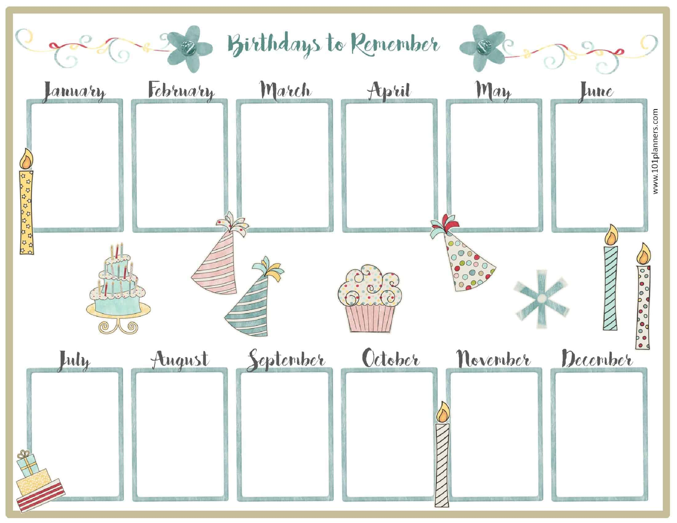 photo about Free Printable Perpetual Birthday Calendar Template named Totally free Birthday Calendar Printable Customizable Lots of