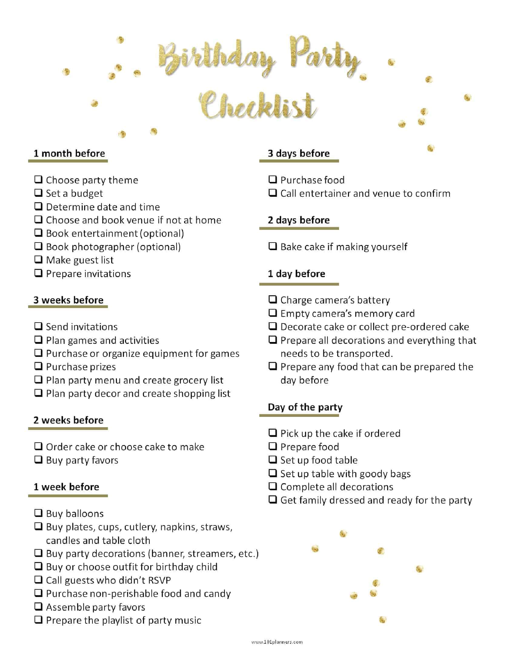 image about Birthday Party Planning Checklist Printable known as Celebration Creating Template
