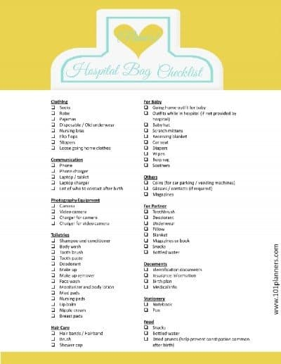 pregnancy bag checklist