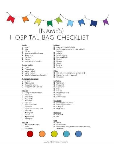 free hospital bag list