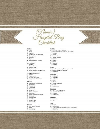 printable checklist of what to pack for mom going into to labor