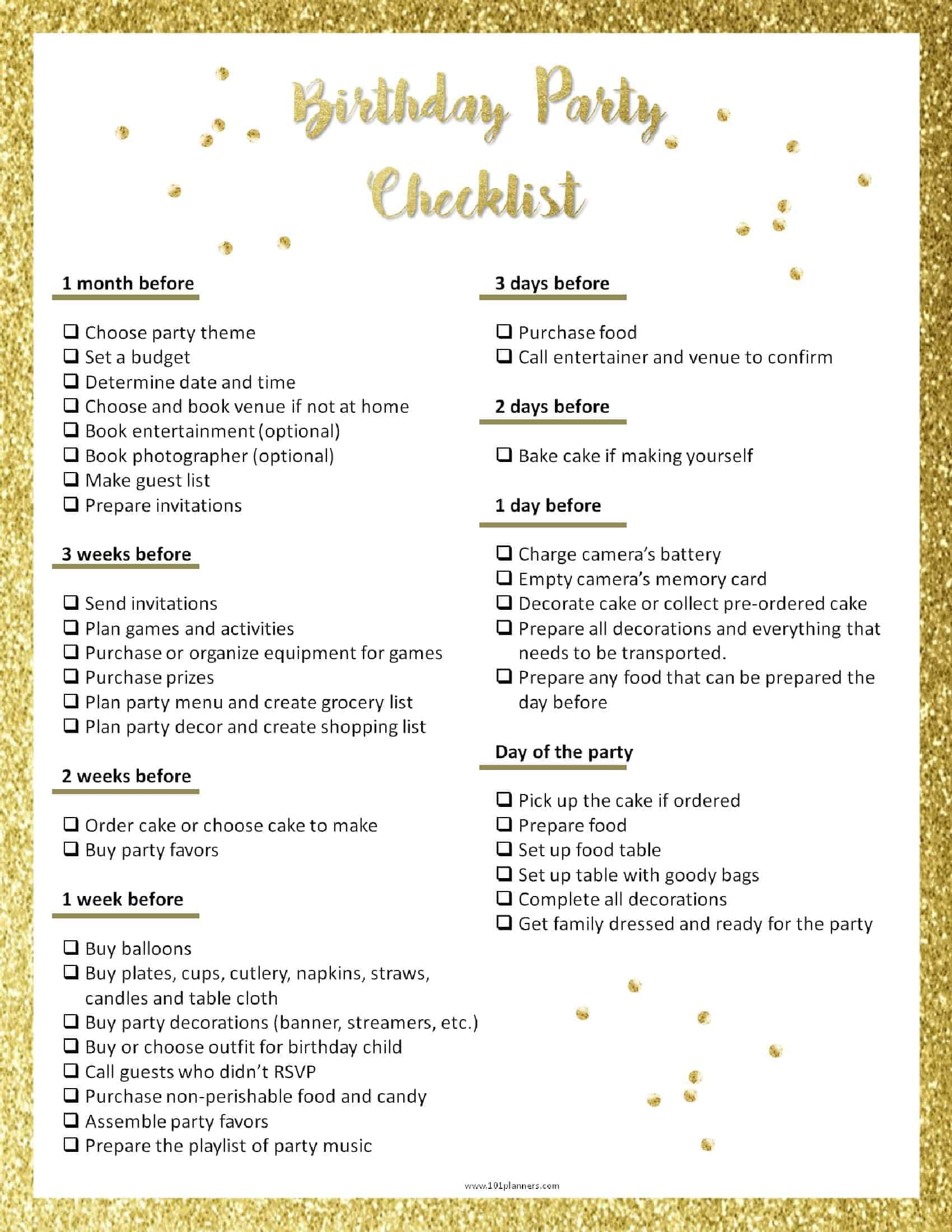 photo relating to Printable Party Planning Checklist titled Get together Creating Template