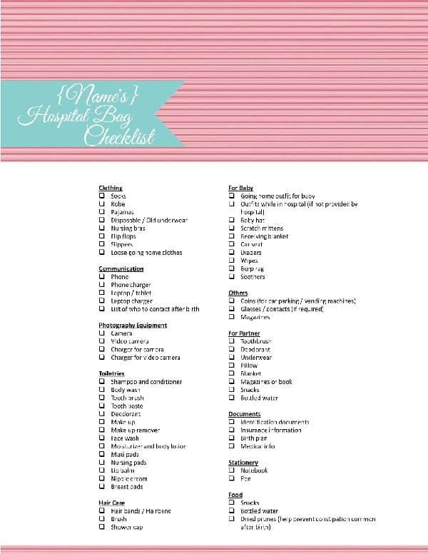 photo regarding Printable Hospital Bag Checklist known as Printable healthcare facility bag listing for labor and shipping and delivery