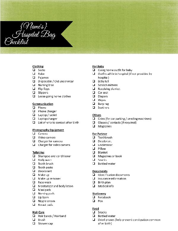Printable Hospital Bag Checklist For Labor And Delivery
