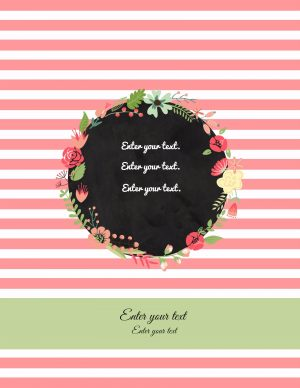 binder cover template with pink stripes