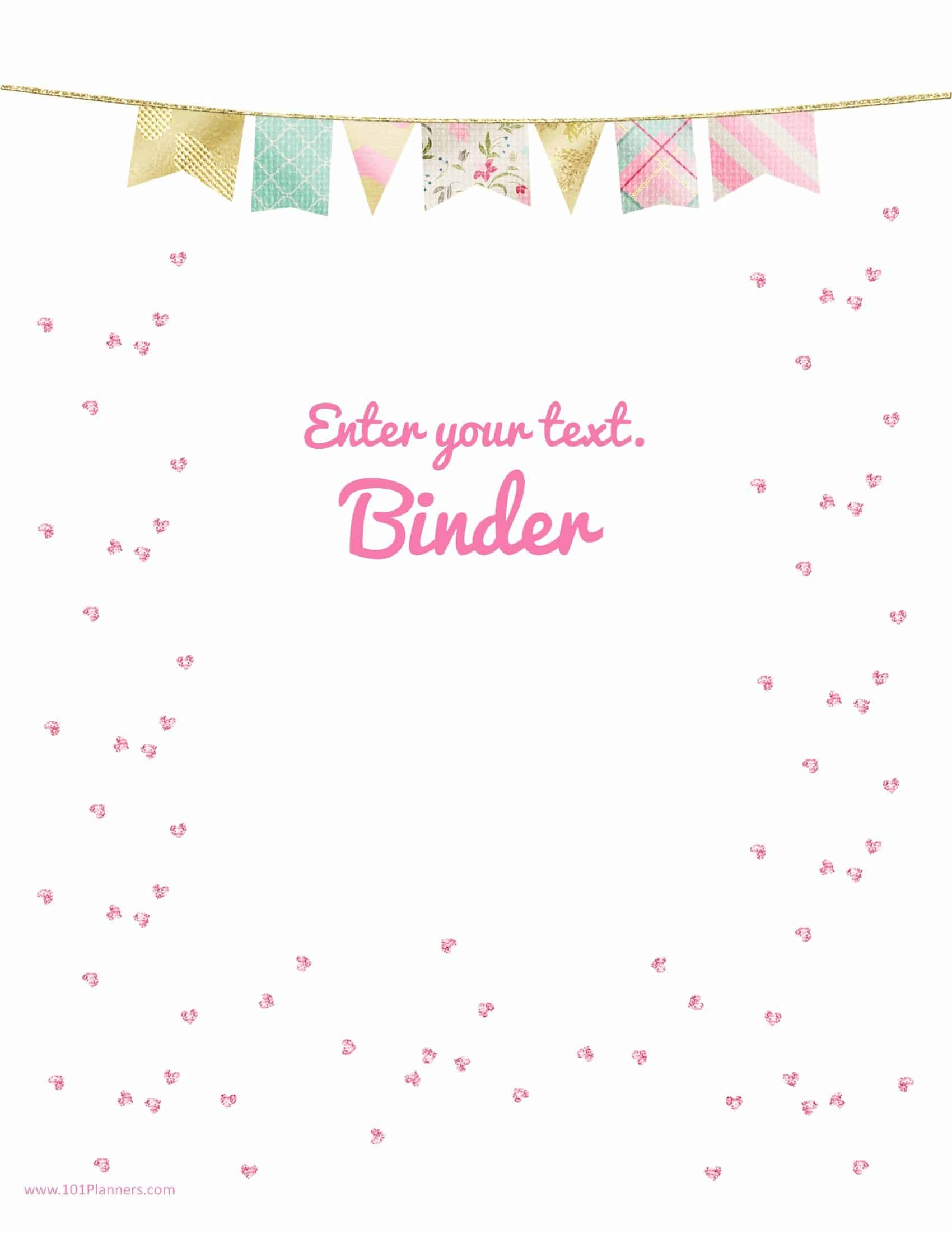 pink sequins with a pastel colored border pretty binder cover