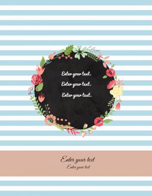binder cover templates with light blue stripes and a floral wreath