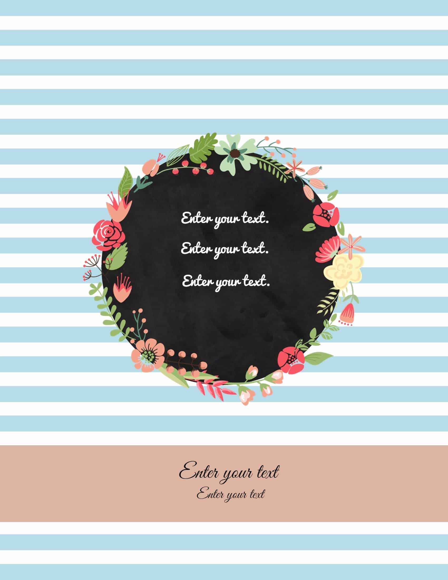 Binder Cover Templates With Light Blue Stripes And A Floral Wreath  Cover Template