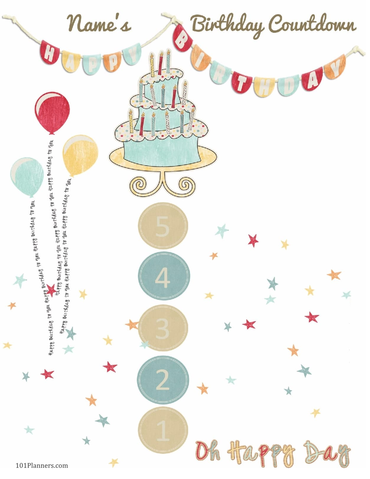 Free Printable Birthday Countdown Customize Online