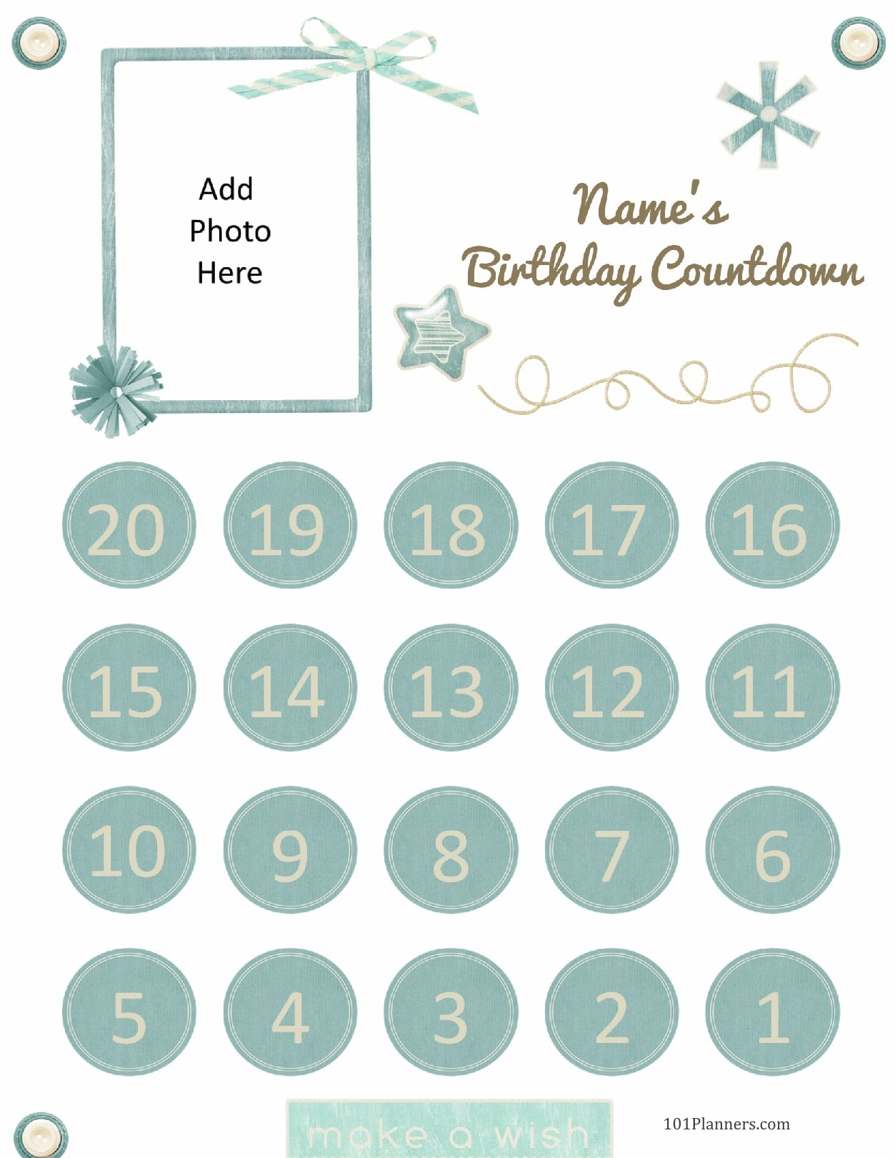 image relating to Countdown Calendar Printable referred to as No cost Printable Birthday Countdown Customise On the net